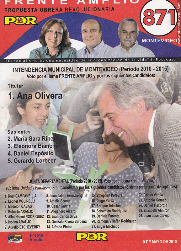 Municipal election 2010 candidate list. - Photos of candidate lists of uruguayan elections - Department and city of Montevideo - URUGUAY. Image #35851