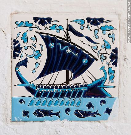 Galleon painted on a tile - Photos of San Pedro de Timote - Department of Florida - URUGUAY. Image #44746