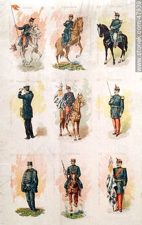 Military uniforms in the nineteenth century - Uruguayan old photos and drawings - URUGUAY. Image #47939