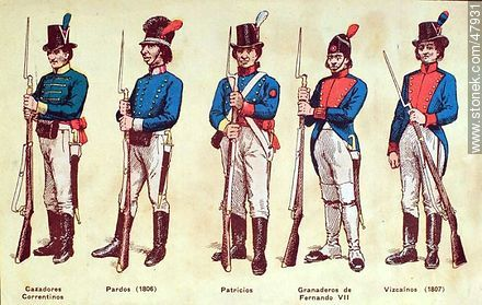 Military uniforms in South America. XIX century. - Uruguayan old photos and drawings - URUGUAY. Image #47931