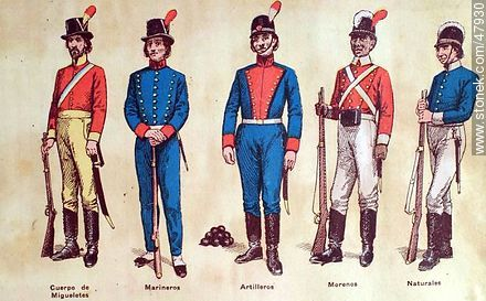 Military uniforms in South America. XIX century. - Uruguayan old photos and drawings - URUGUAY. Image #47930