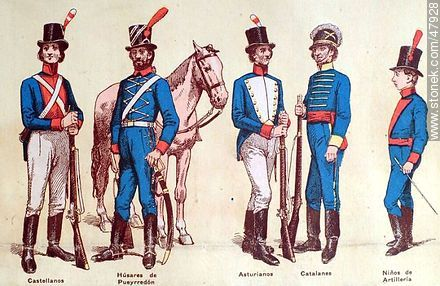 Military uniforms in South America. XIX century. - Uruguayan old photos and drawings - URUGUAY. Image #47928