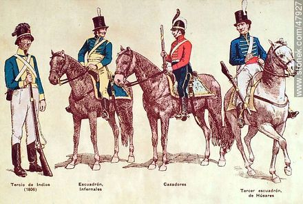 Military uniforms in South America. XIX century. - Uruguayan old photos and drawings - URUGUAY. Image #47927