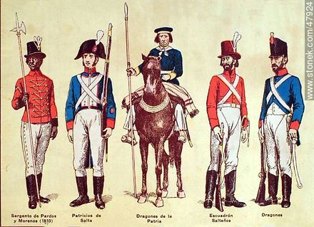 Military uniforms in South America. XIX century. - Uruguayan old photos and drawings - URUGUAY. Image #47924