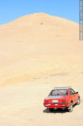Car at the foot of a hill. - Photos of Arica - Chile - Others in SOUTH AMERICA. Image #50390