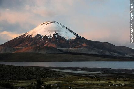 The volcano Parinacota of Nevados de Payachata, and Lake Chungará.  - Photos of the Province of Parinacota - Chile - Others in SOUTH AMERICA. Image #50695