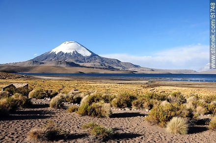 Parinacota volcano, lake Chungará. - Photos of the Province of Parinacota - Chile - Others in SOUTH AMERICA. Image #51748