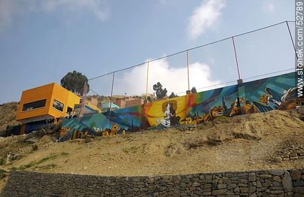View from the motorway La Paz - El Alto. Painted walls. - Photos of the City  of La Paz - Bolivia - Others in SOUTH AMERICA. Image #52789