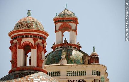 Basilica of Our Lady of Copacabana. Moorish domes - Photos of the City of Copacabana - Department of La Paz, Others in SOUTH AMERICA. Image #52543