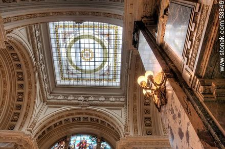 Stained glass ceiling of the Palacio Legislativo - Photos of Palacio Legislativo - Department and city of Montevideo - URUGUAY. Image #53846