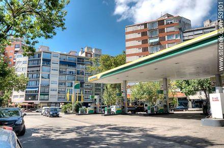 Gas station at Santiago Vazquez Street - Photos of Pocitos quarter - Department and city of Montevideo - URUGUAY. Image #53901