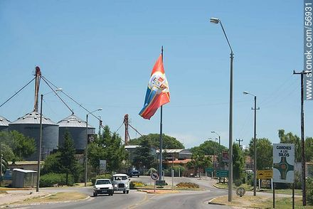 Entrance to Trinidad. Flag of the Department of Flores - Photos of the city of Trinidad, URUGUAY. Image #56931