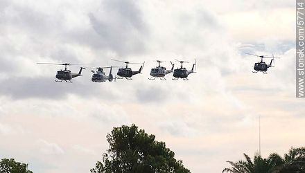 Group of helicopters  of the Uruguayan Air Force. UH-1H Iroquois, Dauphin and Bell 212 - Photos of the air show in Punta Carretas for the 100 years of the Uruguayan Air Force - Department and city of Montevideo - URUGUAY. Image #57714