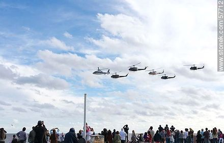 Group of helicopters  of the Uruguayan Air Force. UH-1H Iroquois, Dauphin and Bell 212 - Photos of the air show in Punta Carretas for the 100 years of the Uruguayan Air Force - Department and city of Montevideo - URUGUAY. Image #57712