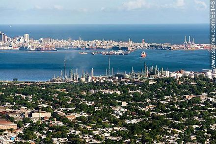 Aerial view of the bay and city of Montevideo. ANCAP plant in La Teja - Photos of Capurro - Department and city of Montevideo - URUGUAY. Image #58146