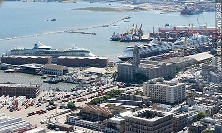 Three cruise ships in port. National Port - Photos of the Port area - Department and city of Montevideo - URUGUAY. Image #58251