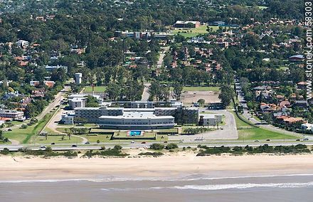 Aerial view of the Naval Academy, Stella Maris College and Scuola Italiana - Photos of Carrasco quarter - Department and city of Montevideo - URUGUAY. Image #58303