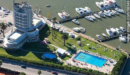 Aerial view of the Yacht Club facilities, pools and marinas - Photos of Buceo quarter - Department and city of Montevideo - URUGUAY. Image #58349
