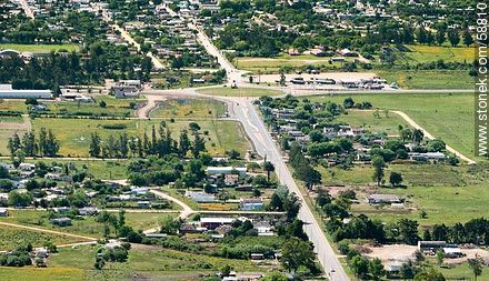Aerial view of the roundabout junction of Route 9 to Route 15 - Photos of Rocha City - Capital city, URUGUAY. Image #58810