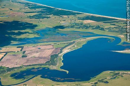 Partial aerial view of the lagoon Garzon - Photos of views of State of Rocha - Atlantic coast., URUGUAY. Image #58755