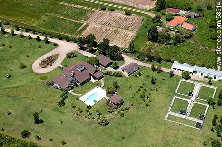 Aerial view of a house next to the road Gonzalo Rodriguez - Variety photos of State of Canelones - Department of Canelones - URUGUAY. Image #58914