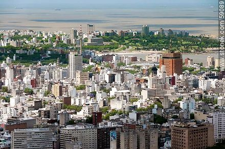 Aerial view of the neighborhoods Centro, Cordon and Punta Carretas - Photos of downtown - Department and city of Montevideo - URUGUAY. Image #59089