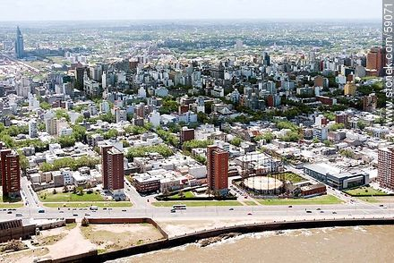 Aerial view of the Rambla Argentina on the Barrio Sur quarter.  - Photos of downtown - Department and city of Montevideo - URUGUAY. Image #59071