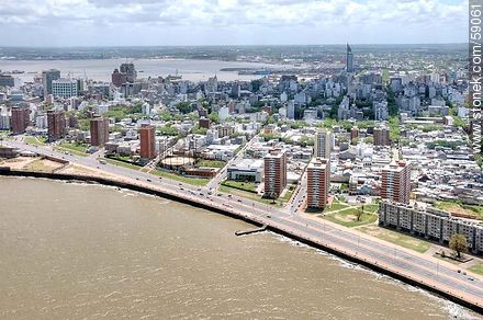 Aerial view of the Rambla Argentina.  Río de la Plata - Photos of downtown - Department and city of Montevideo - URUGUAY. Image #59061