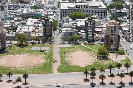 Aerial view of football baby fields Don Bosco and Estrella del Sur. In the background Uruguay Technical University (UTU). Minas Street - Photos of Barrio Sur (South quarter) - Department and city of Montevideo - URUGUAY. Image #59051