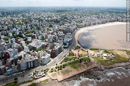 Aerial View of Trouville, Gandhi promenade - Aerial photos of Montevideo - Department and city of Montevideo - URUGUAY. Image #59335