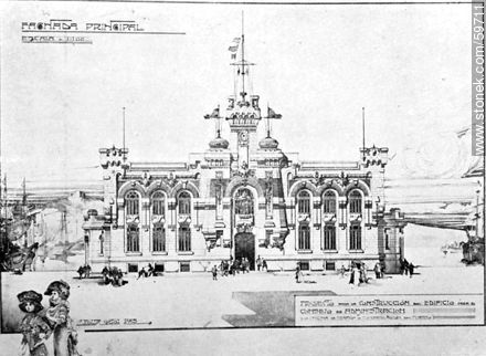 Facade of the new building for the Board of Directors of the Port of Montevideo, 1910 - Photos of Old Montevideo (2) - Department and city of Montevideo - URUGUAY. Image #59711
