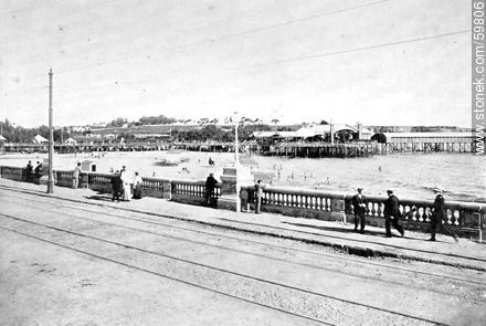 Terrace and Playa Ramirez. 1909 - Photos of Old Montevideo (2) - Department and city of Montevideo - URUGUAY. Image #59806