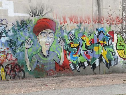Graffiti on wall of a cemetery in Buceo - Photos of graffitis painted walls of the city of Montevideo - Department and city of Montevideo - URUGUAY. Image #60120