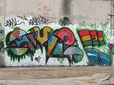 Graffiti on wall of a cemetery in Buceo - Photos of graffitis painted walls of the city of Montevideo - Department and city of Montevideo - URUGUAY. Image #60142