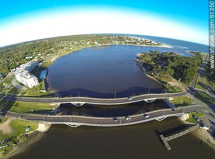 Aerial view of La Barra undulating bridge over the creek Maldonado - Photos of La Barra and Manantiales, URUGUAY. Image #61350