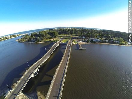 Aerial view of La Barra undulating bridge over the creek Maldonado - Photos of La Barra and Manantiales, URUGUAY. Image #61364