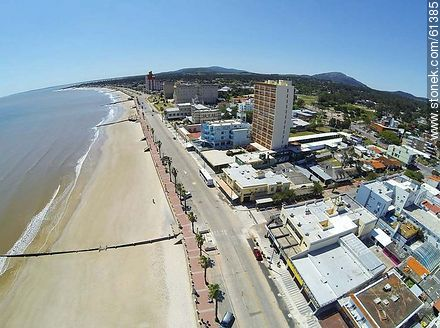 Aerial photo of the beach and boardwalk in spring - Photos of Piriapolis - Department of Maldonado - URUGUAY. Image #61385