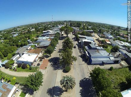 Aerial photo of the Avenida José Batlle y Ordóñez. Route 6. - Fotos of the city of San Ramón - Department of Canelones - URUGUAY. Image #61534