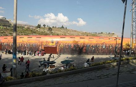 Mural of the entrance to the outdoor theater in the Parque Urbano - Photos of the City  of La Paz - Bolivia - Others in SOUTH AMERICA. Image #62812