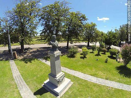 Bust of José Enrique Rodó. Aerial Photo - Photos of Durazno city - Durazno - URUGUAY. Image #63420