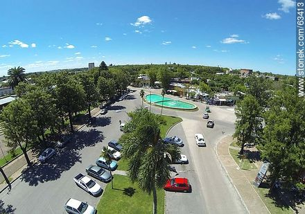 Aerial photo. Bus Terminal. Parking for cars and buses exit - Photos of Durazno city - Durazno - URUGUAY. Image #63413