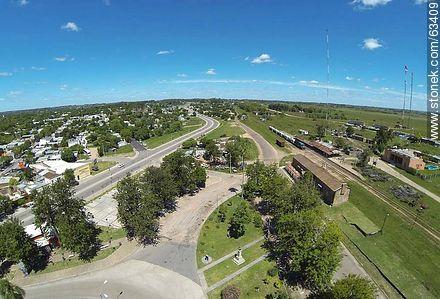 Aerial photo. Garibaldi Avenue and Railyard - Photos of Durazno city - Durazno - URUGUAY. Image #63409