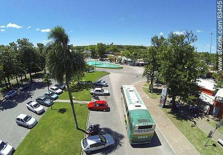 Aerial photo. Bus Terminal. Parking for cars and buses exit - Photos of Durazno city - Durazno - URUGUAY. Image #63405
