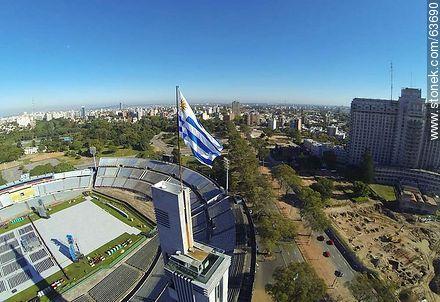 Aerial view of the Estadio Centenario. Preparations for the Paul McCartney concert on April 19, 2014 - Photos of Parque Batlle quarter - Department and city of Montevideo - URUGUAY. Image #63690