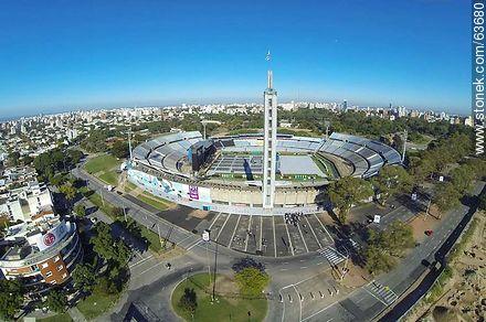 Aerial view of the Estadio Centenario. Preparations for the Paul McCartney concert on April 19, 2014 - Photos of Parque Batlle quarter - Department and city of Montevideo - URUGUAY. Image #63680