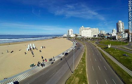 Aerial view of Rambla Lorenzo Batlle Pacheco, Playa Brava, the fingers of La Mano, the monument to drowned - Photos of promenades, URUGUAY. Image #64536