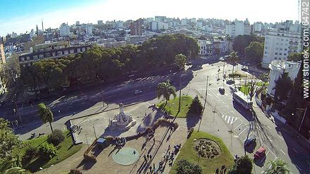 Aerial View of the Plaza Varela, Artigsa Boulevard and Avenida Brasil - Photos of Pocitos quarter - Department and city of Montevideo - URUGUAY. Image #64742
