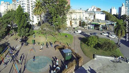 Aerial view of the Plaza Varela - Aerial photos of Montevideo, URUGUAY. Image #64754