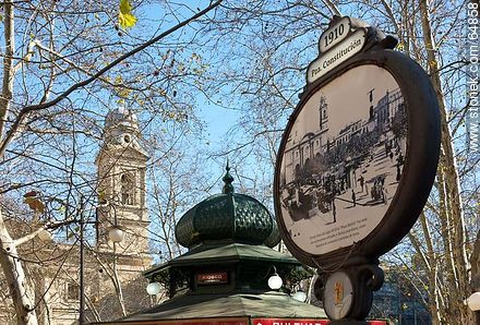 Ancient poster and kiosk with the background of the Metropolitan Cathedral - Extra photos of Montevideo., URUGUAY. Image #64858