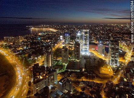 Nocturnal aerial photo of the Rambla Armenia and World Trade Center Montevideo - Photos of Buceo quarter - Department and city of Montevideo - URUGUAY. Image #65244